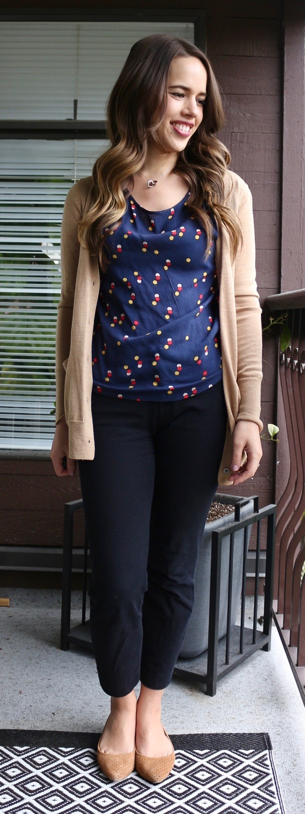 Jules in Flats - Polka Dot Top with Camel Cardigan and Flats (Spring Work Outfit)