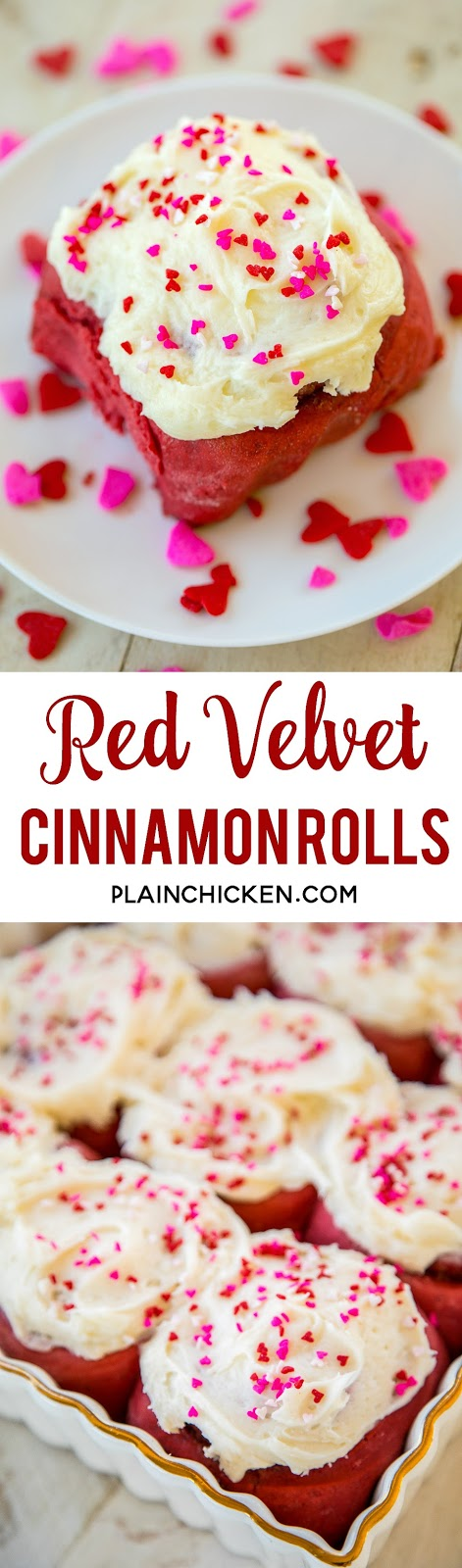 Red Velvet Cinnamon Rolls - TO-DIE-FOR delicious!!! SO easy! Start with a box of cake mix and add flour, water, and yeast. Bake and top with an amazing homemade cream cheese frosting! Makes 24 rolls. One pan for you and one for your Valentine! #redvelvet #valentinesday #cinnamonrolls