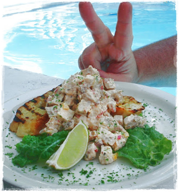 poolside chicken salad on hot chilli bread