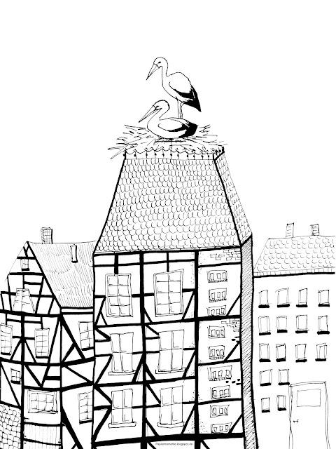 Wiola's Papiermomente  Ausmalbild Storch