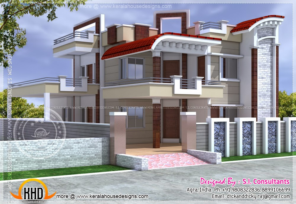 Exterior design of house in india kerala home design and for North indian house plans with photos