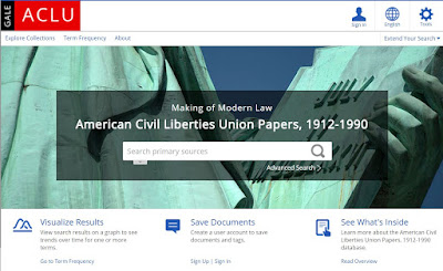 main page of the ACLU database