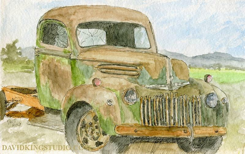 art sketch plein air truck Ford abandoned watercolor rust
