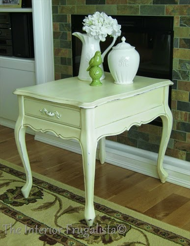 French Provincial rectangular side table makeover