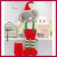Ratón navideño amigurumi
