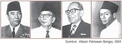 Empat Serangkai pendiri Putera Ir. Soekarno, Ki Hajar Dewantara, Drs. Moh. Hatta, dan K.H. Mas Mansyur