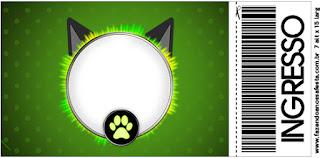 Tarjeta con forma de Ticket de Cat Noir.