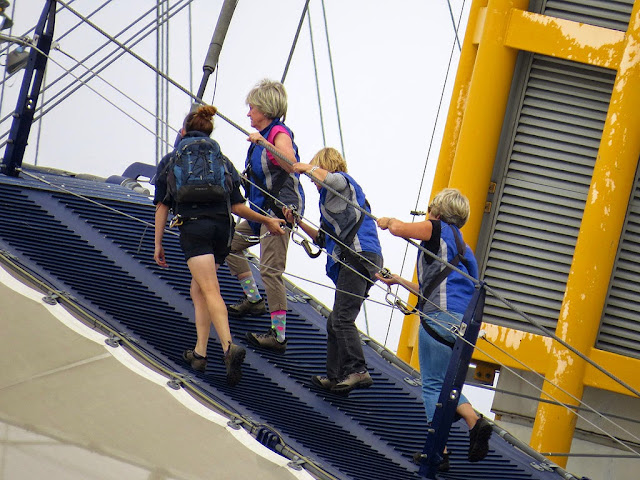 Climbers on the top platform of The O2, Millendium Dome, North Greenwich, London