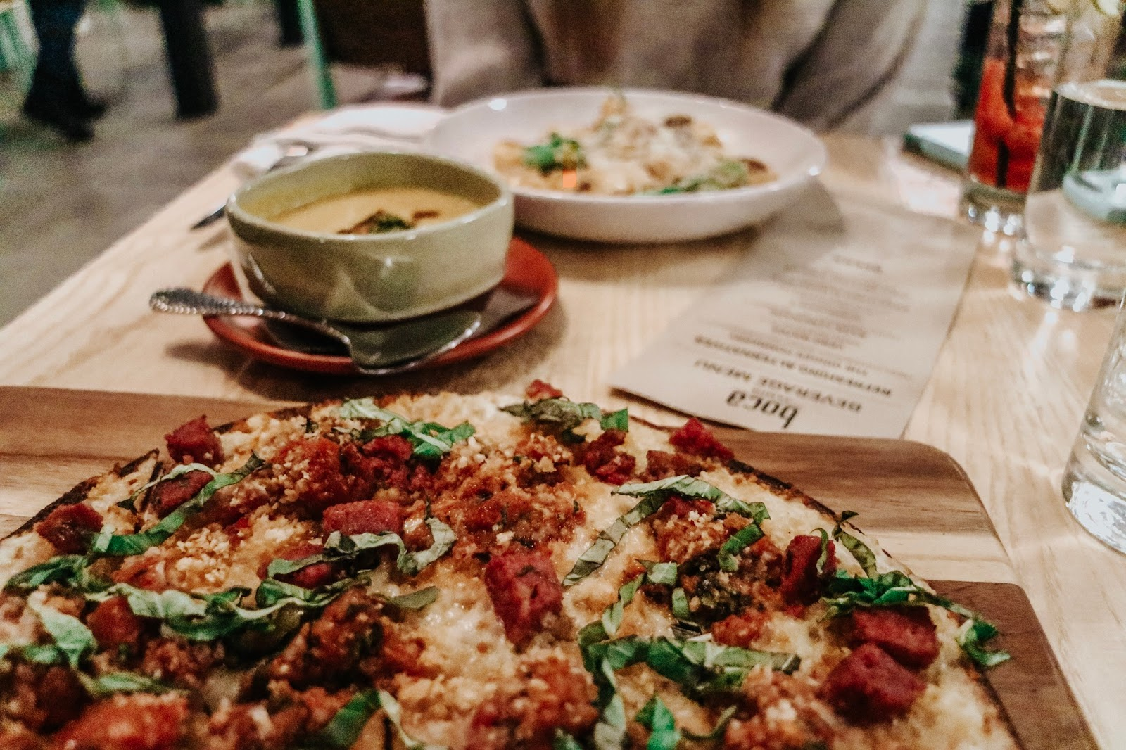 Flatbread pizza and autumn butternut squash soup from boca in Tampa Florida