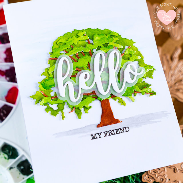 Spellbinders - Indie Collection Blog Hop Layered Oak Tree Card by ilovedoingallthingscrafty