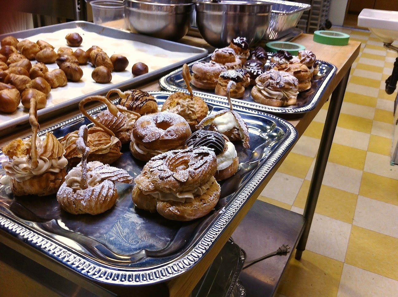 Various baked goods in the pastry kitchen.