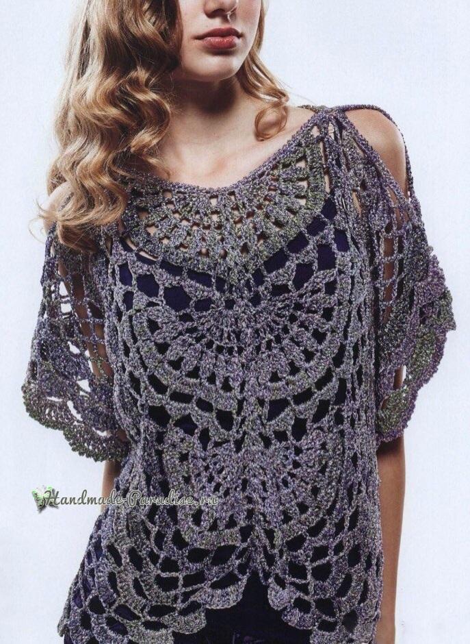 Нарядная блуза крючком. Схема вязания (1)