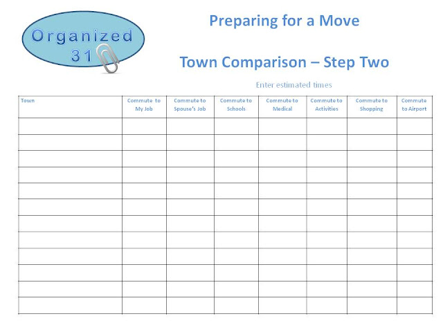 Organized 31 - Moving & Finding a Town Checklist
