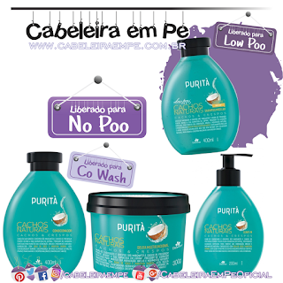 Shampoo (Low Poo), Condicionador, Máscara e Leave in (Liberados para No Poo) Cachos Naturais - Purità