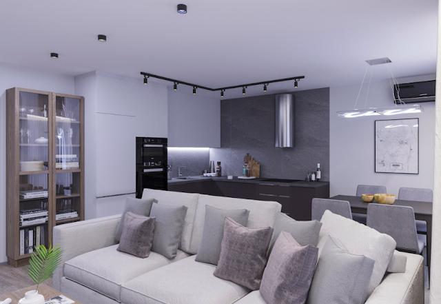 interior apartemen studio, minimalis rungan kerja apartemen
