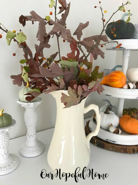 I. Godinger large white pitcher fall branches mantel decor