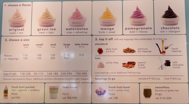 Pinkberry menu