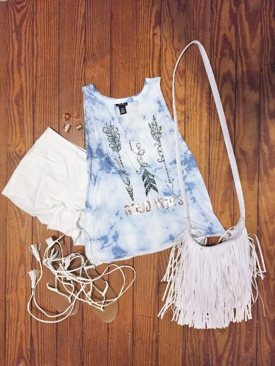 rue21 good vibes tank top outfit of the day