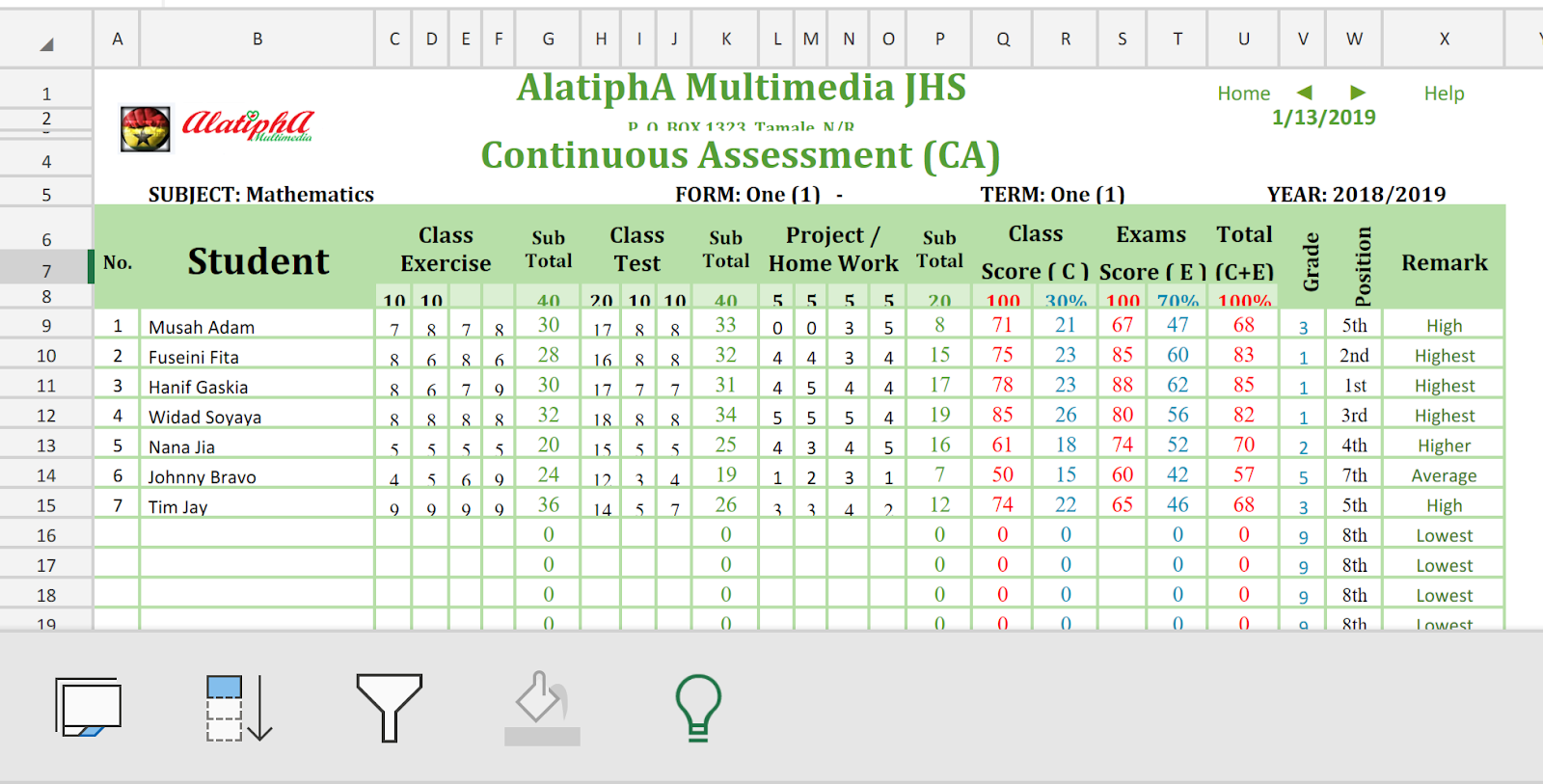 Alatipha Multimedia Awake Ghana Youth Ca Gradebook For