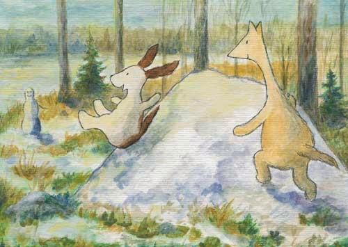 Postcard illustration of Hulmu Hukka and Haukku Spaniel playing on snow heap in spring