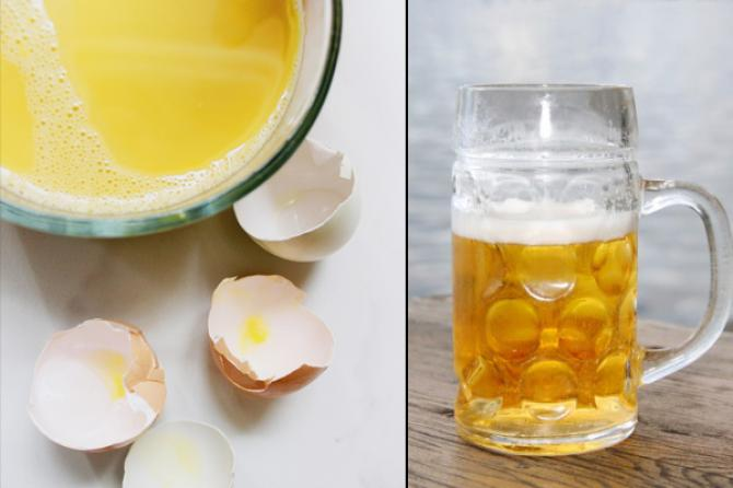 Mask of beer and egg