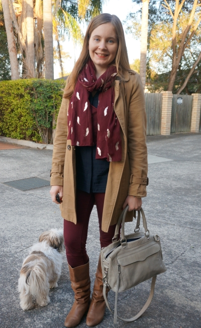 burgundy and navy casual way to wear pants outside of office trench and RM Mini MAB | Away From Blue