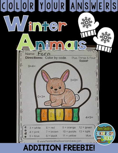Fern Smith's Classroom Ideas Mitten Addition Color By Code Freebie at Classroom Freebies!
