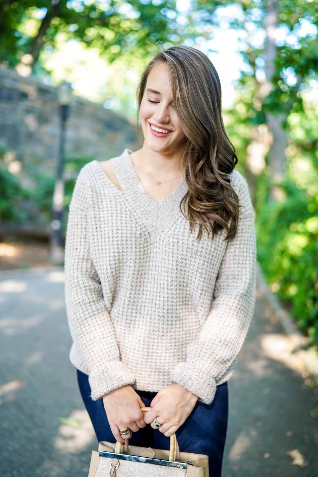 Rebecca Minkoff Draco Waffle Knit Cutout Sweater