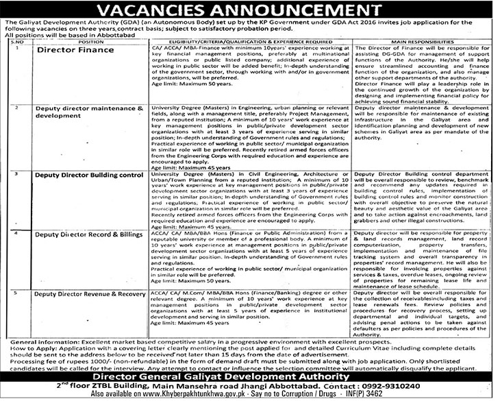 Galiyat Development Authority latest jobs