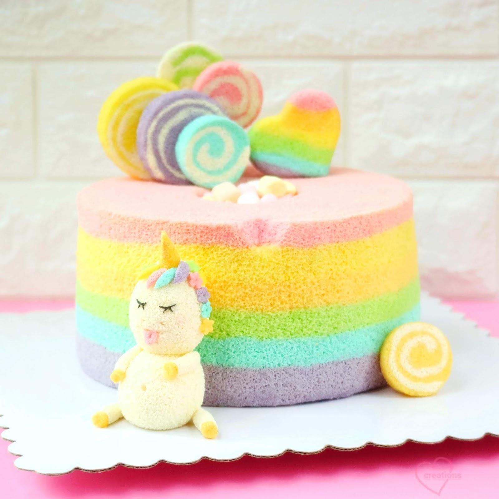Loving Creations For You Fat Unicorn Rainbow Chiffon Cake