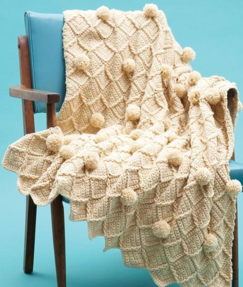 Lattice Pompom Blanket - Free Pattern