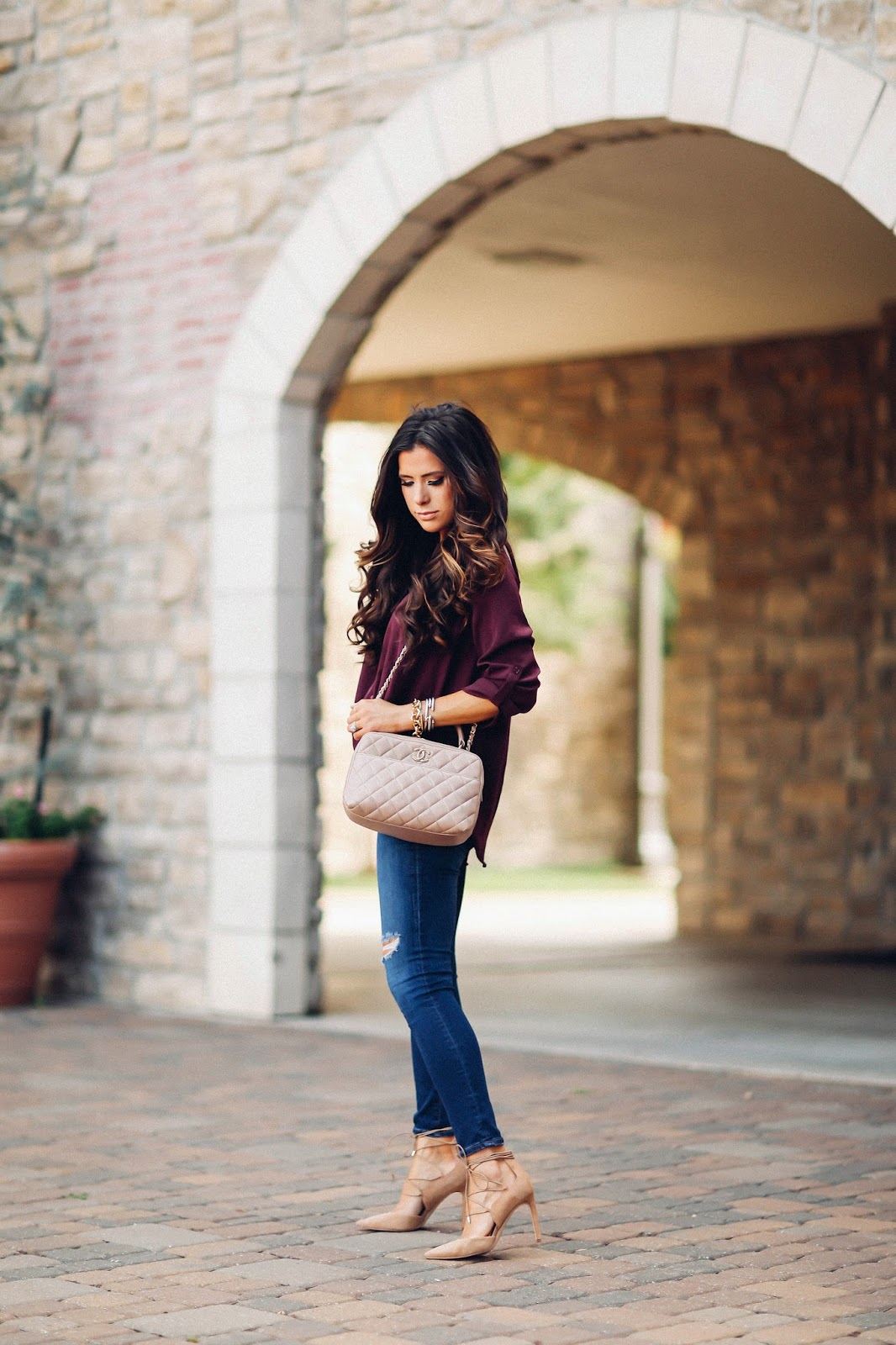 emily gemma, the sweetest thing blog, AG jeans skinny ankle review, Lush top nordstrom, pinterest fall outfit idea, pinterest fall fashion, pinterest outfit ideas for fall, pinterest date night outfits, chanel bowling bag in beige, H audrey gold necklace by clrrrk, bauble bar monogram, sam edelman lace up heels, tulsa fashion blog, gold michele serein watch, dallas fashion blog, cute jeans and heels outfits, brunette balayage, balayage for fall, medium hair styles balayage with curls, david yurman bracelet stack