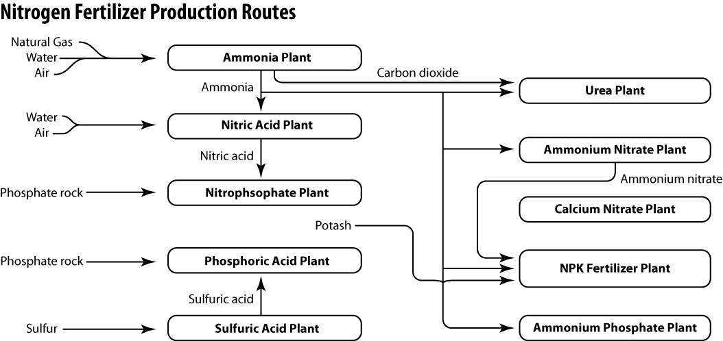 Savvy chemist gcse ocr gateway chemistry c61gj fertilizer production the industrial routes to different fertilisers are shown in the flow diagram above you can see what kinds of raw materials are required on the left of the ccuart Images