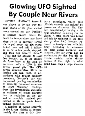 Glowing UFO Sigfhted - Gazette Reporter (Crpd) 8-31-1967