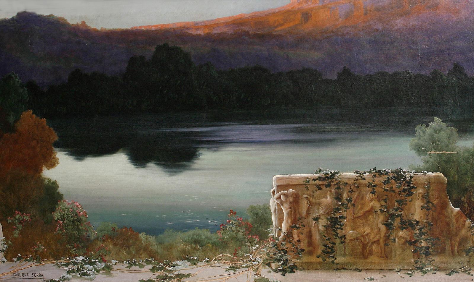 Enrique  Serra  y  Auque  Lake  scene  at  sunset
