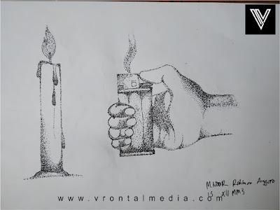 contoh gambar pointilis korek dan lilin