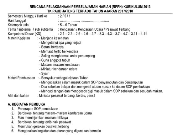 RPPH TK-B Kurikulum 2013 Semester 2 Kendaraan UDARA