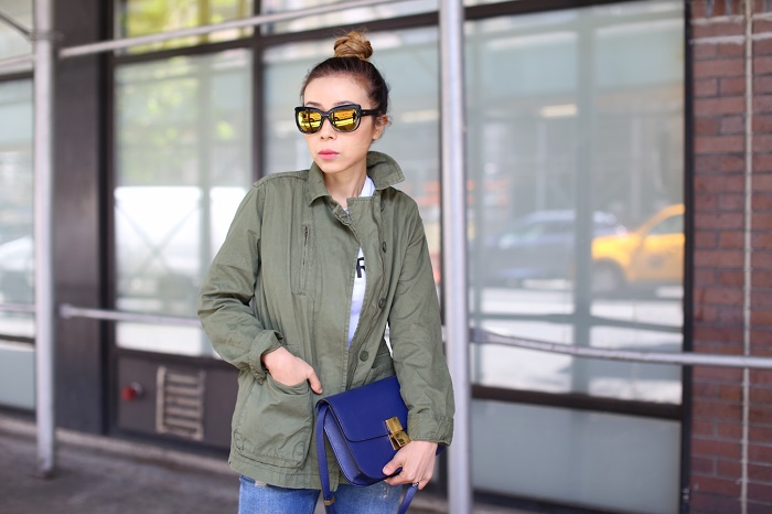 Joe Fresh utility jacket, anna k it girl tee, anna k tee, celine classic box bag, ag jeans, christian louboutin heels, chanel necklace, quay sunglasses, nyc street style, happy mother's day