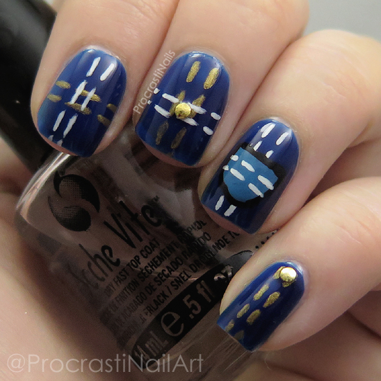 Nail art using Ciaté London polishes and acrylic paint to look like denim