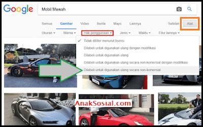 Setting Hak Penggunaan Gambar Google