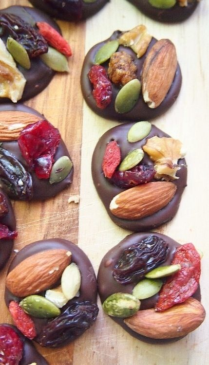 Use 85% dark chocolate, raw nuts, and unsweetened dried cranberries.