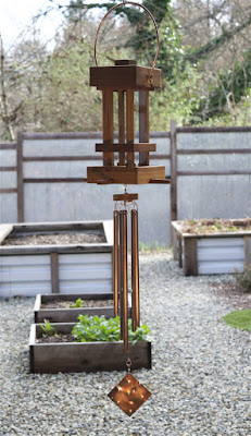 Deluxe handcrafted cedar and copper bird feeder wind chime by Coast Chimes