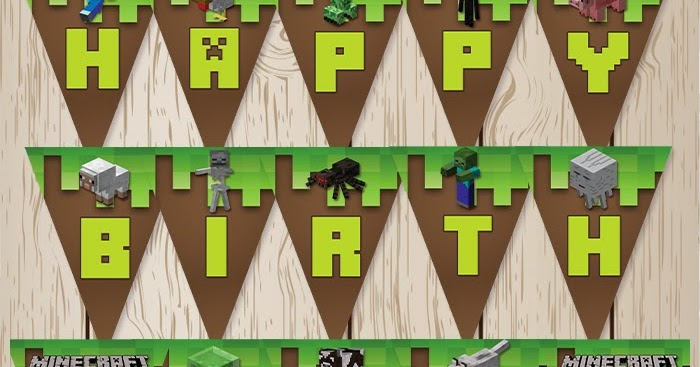 This is an image of Adaptable Minecraft Birthday Banner Free Printable