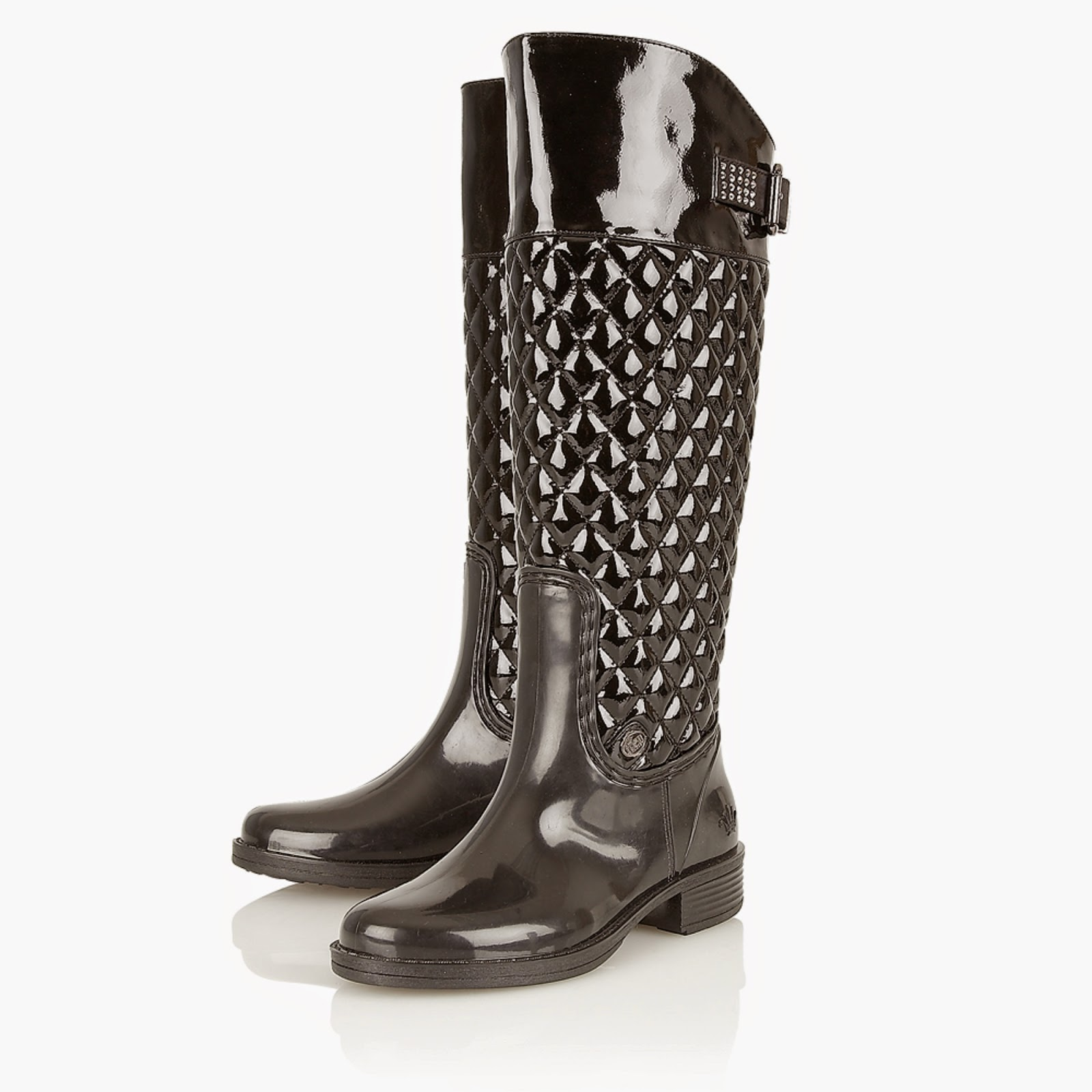 2d861ef8d06 Repel the Rain: Posh Wellies Rohan Black Patent Quilted Knee-High Boots  Highly Recommended by Whom You Know-Keep Your Feet Dry For the Gala You Go  To!
