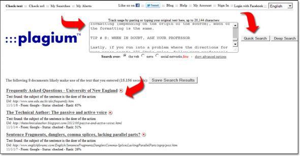 online plagiarism checkers and duplicate content detectors  plagium com sample results