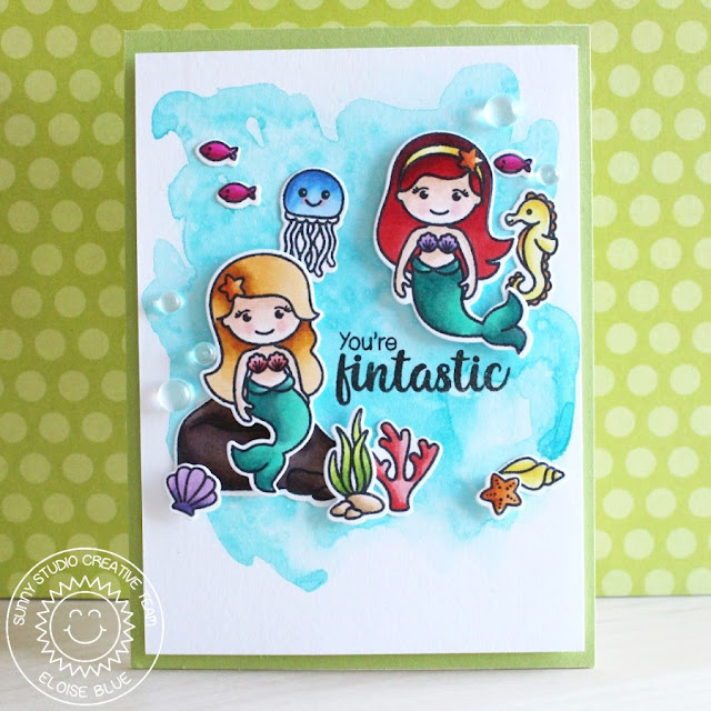 Sunny Studio Stamps: Magical Mermaids You're Fintastic Card by Eloise Blue