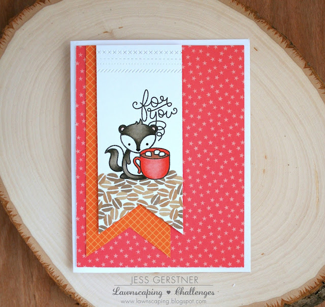 Coffee Themed Card by Jess Gerstner with the Lawn Fawn Stinkin Cute Mini Set