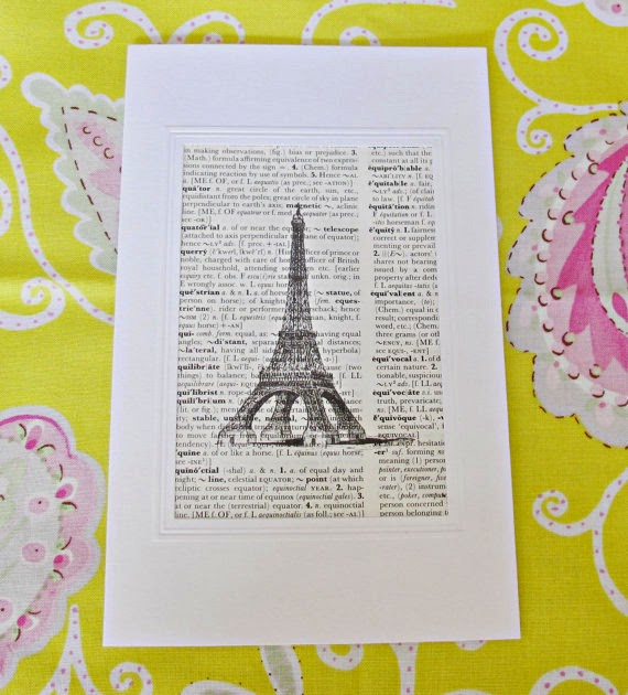 image dictionary page greeting card eiffel tower paris france two cheeky monkeys