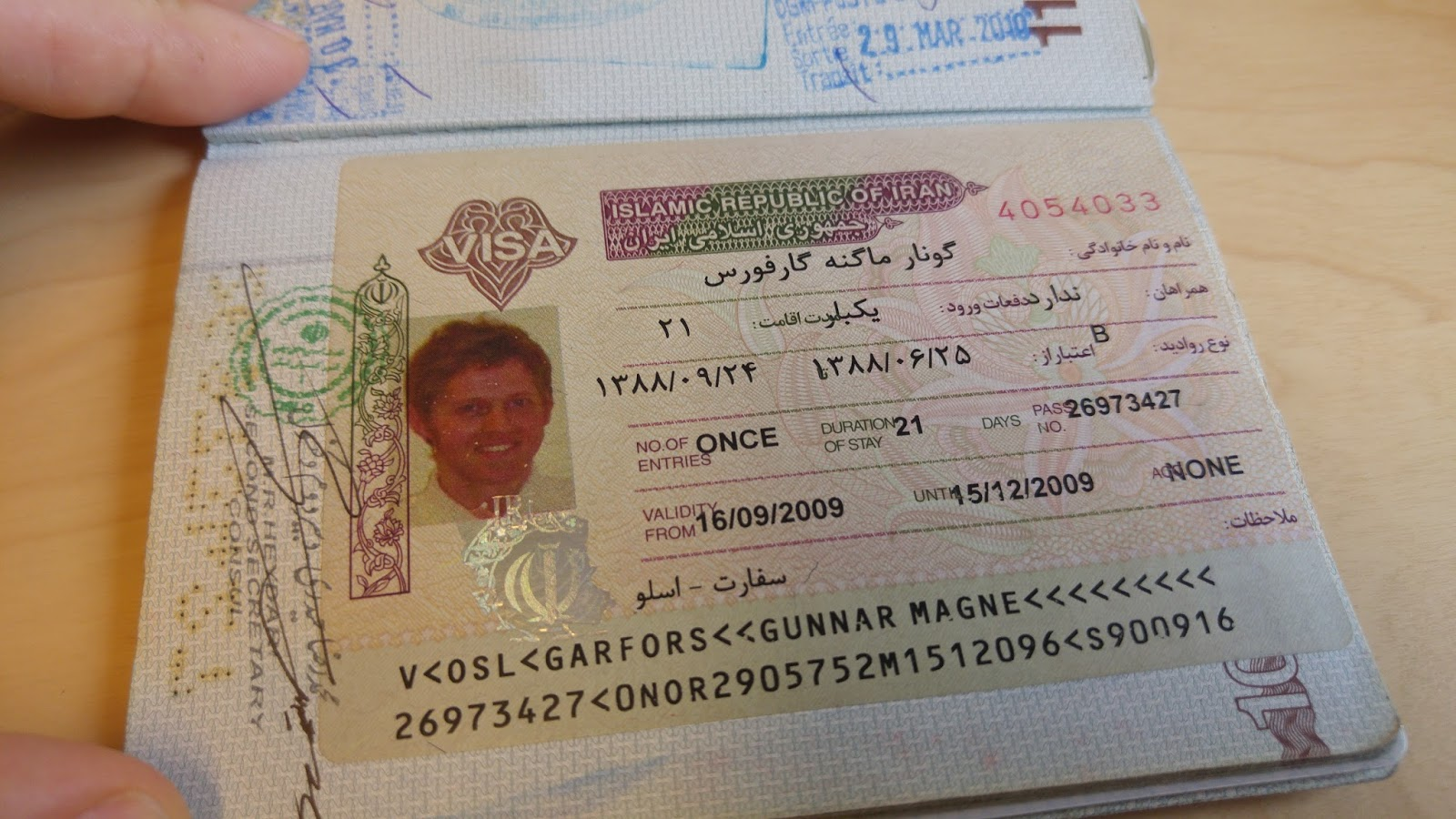 Worlds top 50 country passport stamps the garfors globe my second favourite visa of all times that guy may look like me but it is actually my brother ystein i had run out of passport photos he hadnt thecheapjerseys Images