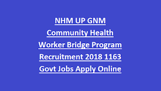 NHM UP GNM Community Health Worker Bridge Program Recruitment 2018 1163 Govt Jobs Apply Online